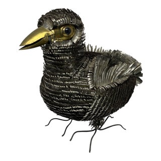 Sergio Bustamante Metal Tin Bird Sculpture For Sale