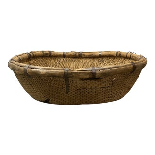 Early 20th Century Woven Wicker + Metal Dome Basket For Sale