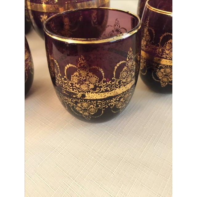 Bohemian Amethyst Glassware - Set of 7 - Image 4 of 4