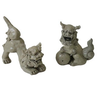 Antique Pottery Foo Dogs, Pair For Sale