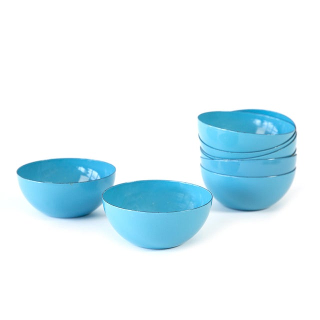Contemporary Cathrineholm Blue Enamel Bowls - Set of 8 For Sale - Image 3 of 3