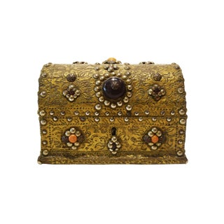 Antique Brass Clad Box With Stones For Sale