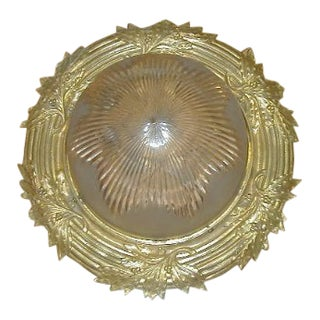 Early 20th Century French Antiques Bronze and Glass Flush Mount Light For Sale