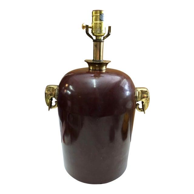 Brass Elephant Motif Enameled Lamp For Sale