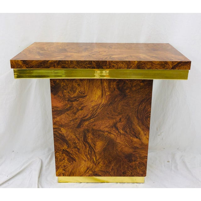 Mid 20th Century Vintage Modern Burl & Brass Table For Sale - Image 5 of 12