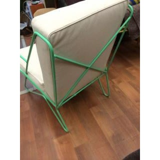 Contemporary Raoul Guys Rarest Pair of Aqua Metal Chairs Newly Recovered in Canvas Cloth For Sale - Image 3 of 6
