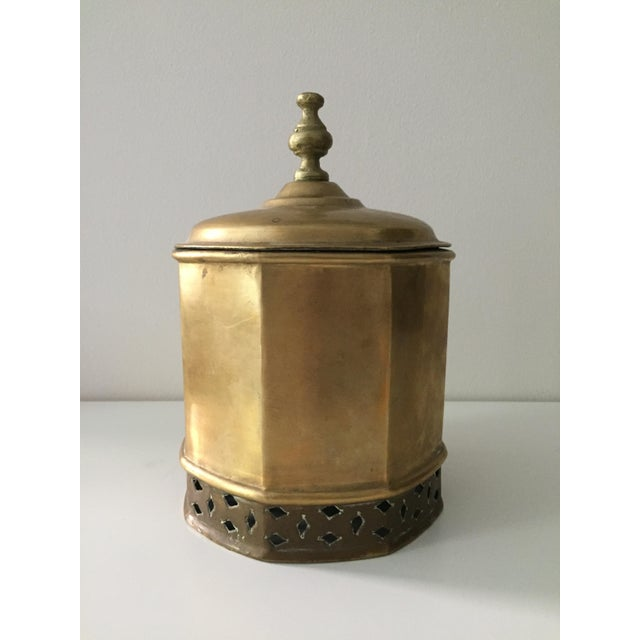 Primitive Moorish Brass Octagonal Kettle / Container For Sale - Image 4 of 9