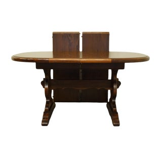 "Antique Ethan Allen Pine Old Tavern 90"" Trestle Dining Table For Sale"