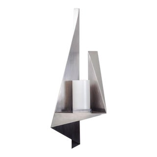 Large Post Modern Aluminum Candle Wall Sconce 1970s