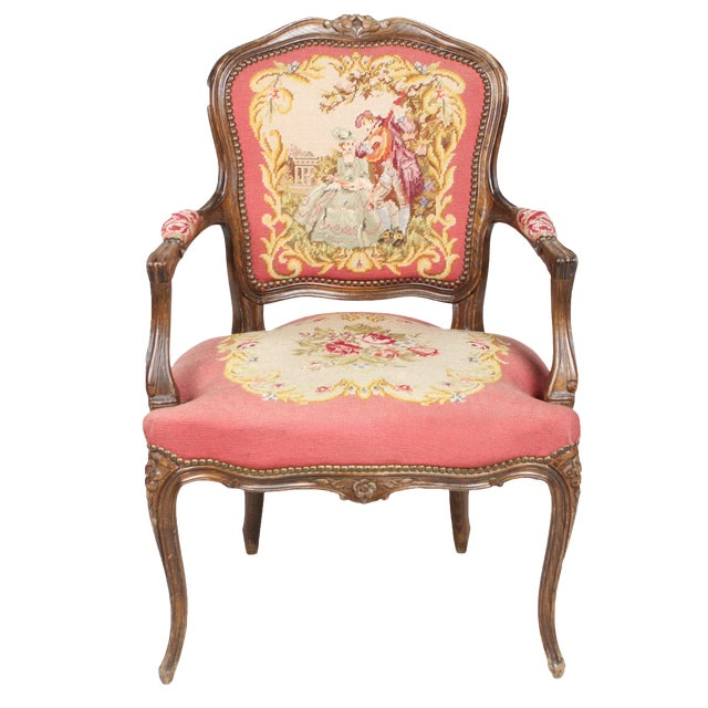 Vintage 1940s Louis XVI-Sty Needlepoint Fauteuil - Image 1 of 4