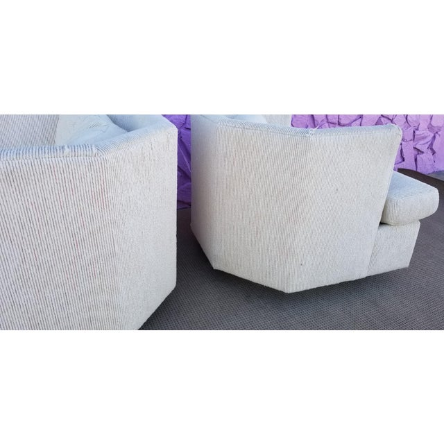 Vintage Geometric Back Swivel Chairs- a Pair For Sale - Image 9 of 13