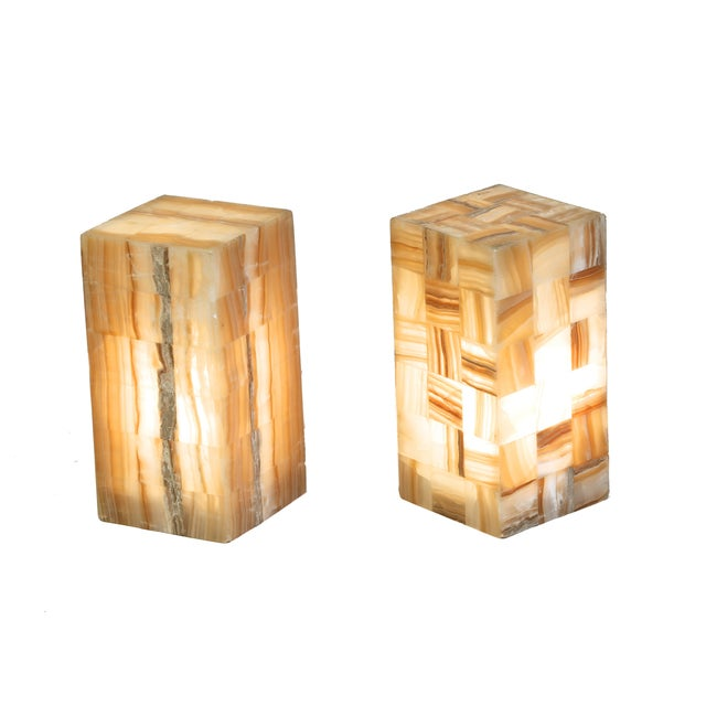 Onyx & Metal Rectangular Lamps - A Pair - Image 2 of 4