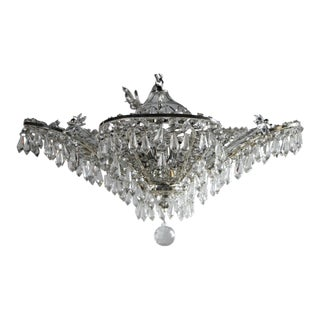 1930s French Silver Plated and Beaded Crystals Chandelier (4 Available) For Sale