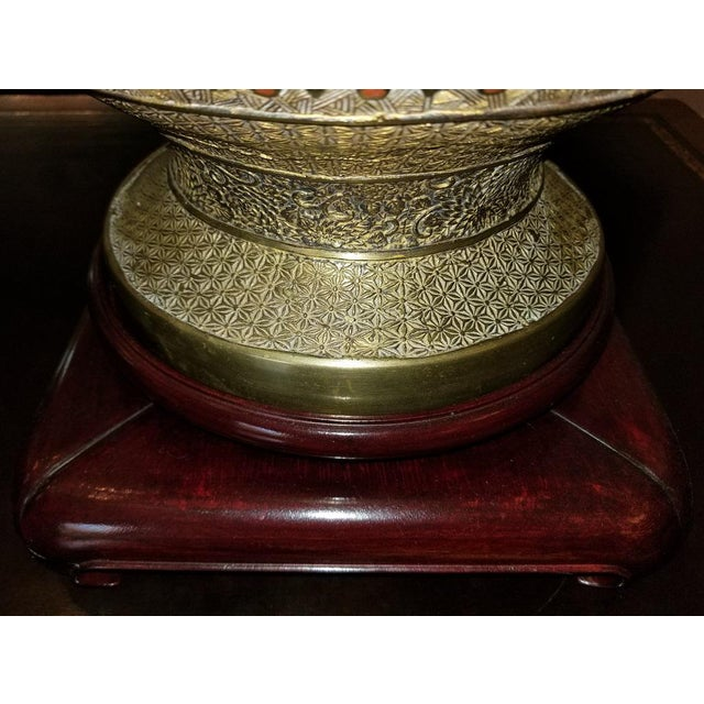 Blue Large Oriental Champleve Cloisonne Urn on Stand For Sale - Image 8 of 13