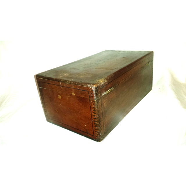 Antique Dove Tailed Wooden Cigar Humidor Box - Image 7 of 11