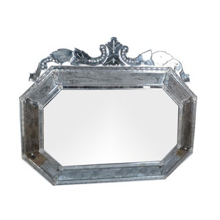 Venetian Wall Mirror With Bohemian Flowers For Sale