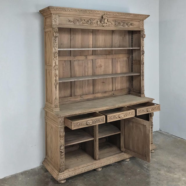 19th Century French Renaissance Stripped Oak Bookcase For Sale - Image 10 of 13