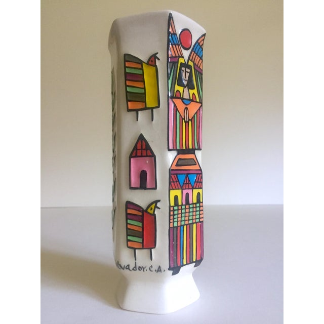 This vintage Mid Century Modern El Salavdor rare art pottery hand painted signed ceramic angel vase is an incredibly...
