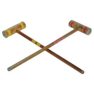 Old-School Croquet Mallets in Red & Yellow - A Pair For Sale