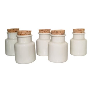 White Milk Glass Apothecary Jars With Cork Top - Set of 5 For Sale
