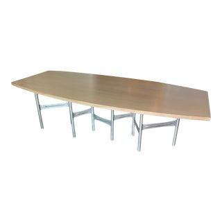 Contemporary Walnut & Nickel Dining Table For Sale