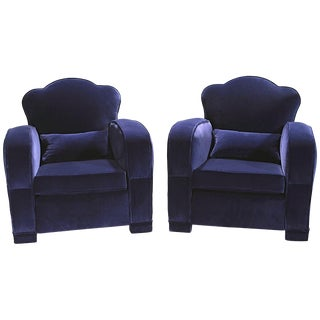 French Velvet Club Armchairs, 1940s - A Pair For Sale
