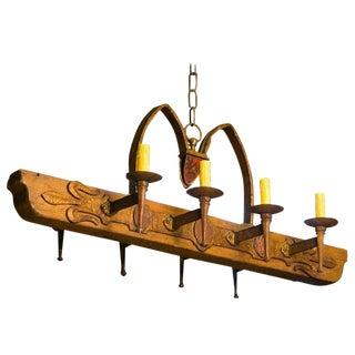 Circa 1940 Custom Rustic Wood and Iron Spanish Chandelier For Sale