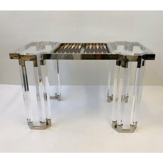 Hollywood Regency Lucite and Polish Nickel Backgammon Table by Charles Hollis Jones For Sale - Image 3 of 11