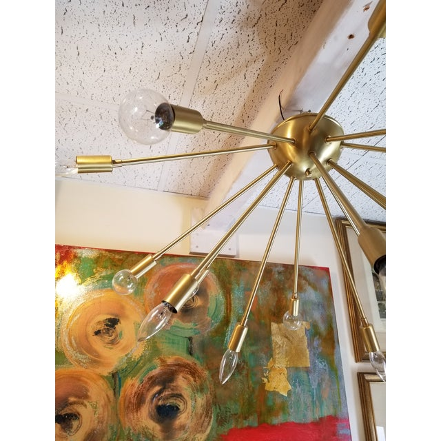 Vintage Gold Chandelier For Sale - Image 4 of 6