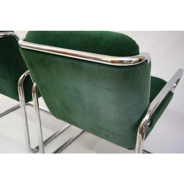 Dunbar Reversed Cantilever Tubular Chrome Chairs - A Pair - Image 5 of 7