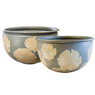 Robert Maxwell Blue Glaze With Flower Motif for Pro Artisan, Circa 1970 For Sale