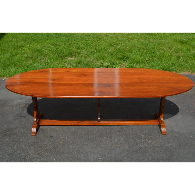 Custom Crafted Cherry Wood Oval Farmhouse Dining Table Chairish - Farmhouse conference table