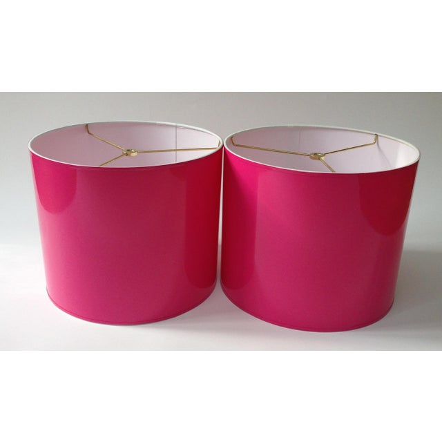 Contemporary Large High Gloss Hot Pink Drum Lamp Shade For Sale - Image 3 of 5