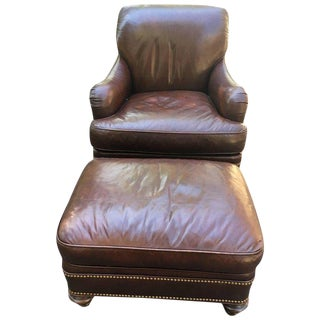 Traditional Chocolate Brown Leather Club Chair and Ottoman - 2 Pieces For Sale