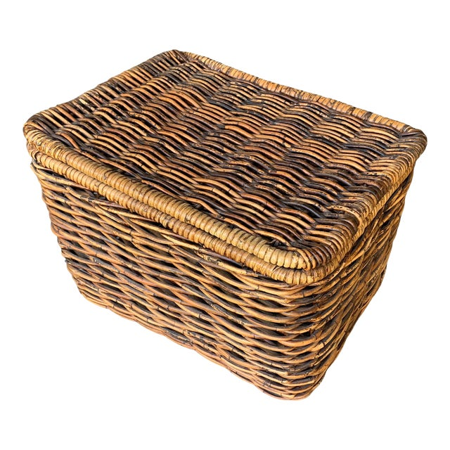 Pottery Barn Woven Rattan and Wicker Lidded Basket For Sale