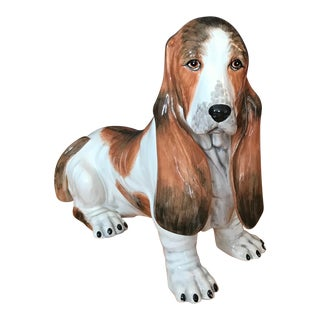 Vintage Italian Ceramic Life Size Bassett Hound Dog Sculpture For Sale