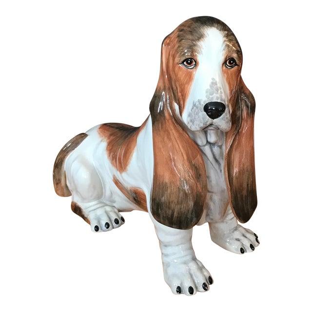 Vintage Italian Ceramic Life Size Bassett Hound Dog Sculpture For Sale