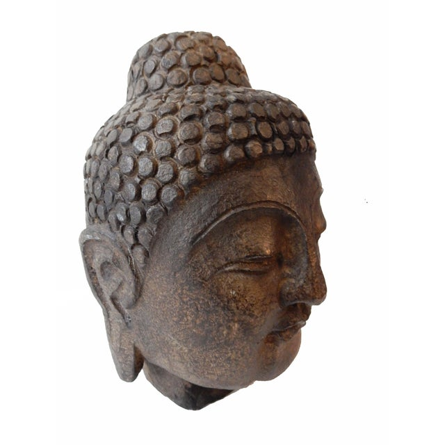 Hand carved stone buddha head chairish