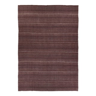 Modern Turkish Kilim Rug With White Stripes on Brown Field For Sale