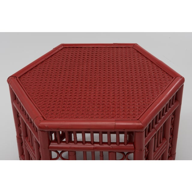 Red 1970s Chinoiserie Hexagonal Bamboo Coffee Side Table For Sale - Image 8 of 12