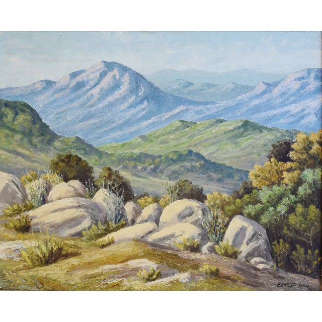Ernest Roll 1966 Framed Mountain Landscape Oil Painting | Chairish