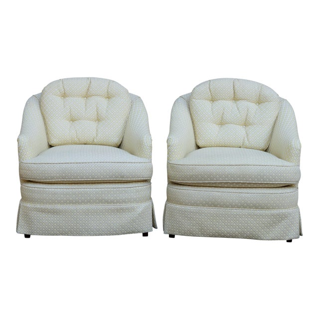 Mid Century Style Cream Club Chairs, A Pair - Image 1 of 9