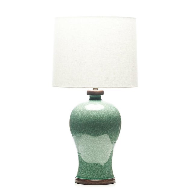 Chinese Lawrence & Scott Dashiell Table Lamp in Aquamarine Crackle For Sale - Image 3 of 3