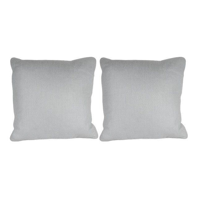 Pair of Square Pillows in Patterned White Gold Italian Handwoven Silk For Sale