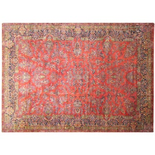 Antique Oriental Carpet in Large Size With Floral Design & Vases For Sale
