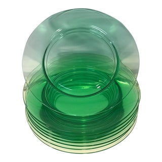 Antique Cambridge Glow in the Dark Green Uranium Glass Plates - Set of 8 For Sale