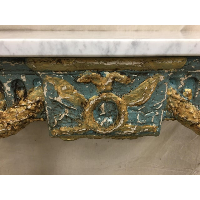 Mid 18th Century 19th C French Marble Top Painted Console Table For Sale - Image 5 of 10