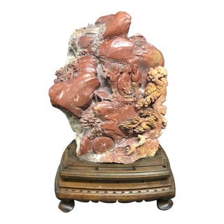 Mid 20th Century Chinese Solid Soapstone Mountain Scenery Sculpture For Sale