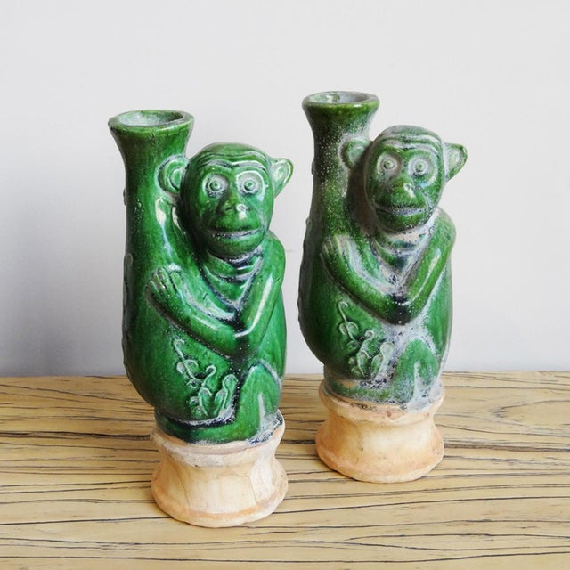1990s Green Ceramic Monkey Vase For Sale - Image 5 of 5