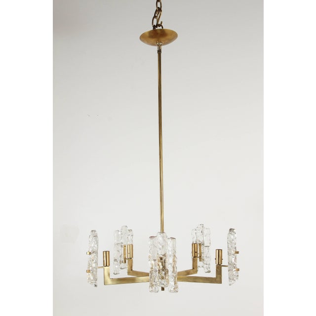 Metal Italian Glass Pendant With Kalmar Textured Glass Shades For Sale - Image 7 of 10
